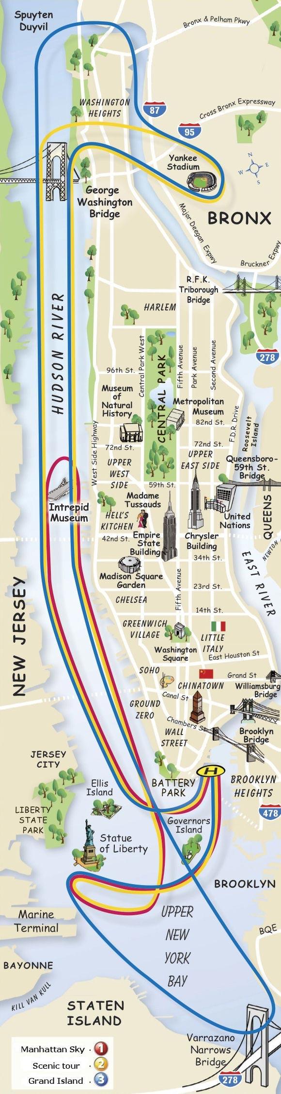 Helikoptertur i New York - Kart