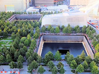 9/11 Memorial i New York - Sett ovenfra